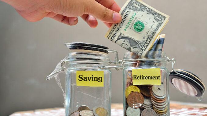 money going into retirement jar