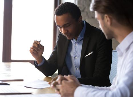 life insurance salesman preparing for client interview